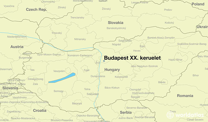 map showing the location of Budapest XX. keruelet
