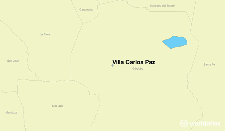map showing the location of Villa Carlos Paz