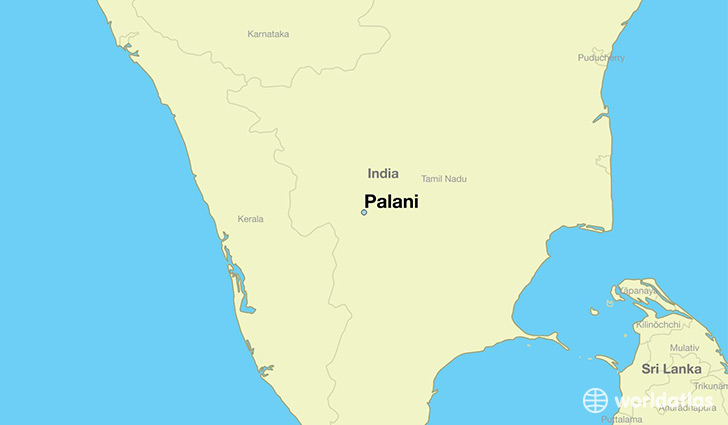map showing the location of Palani