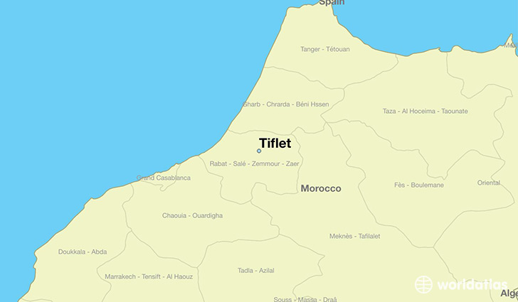 map showing the location of Tiflet