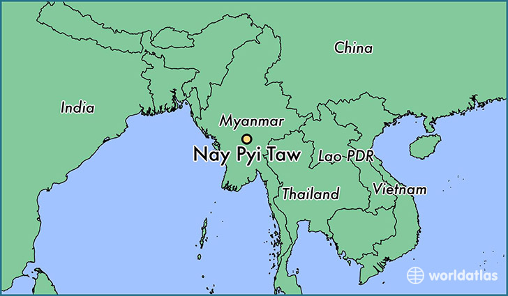 map showing the location of Nay Pyi Taw