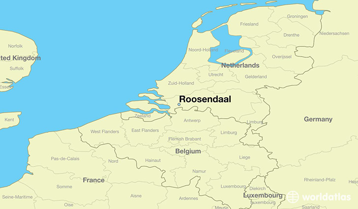 map showing the location of Roosendaal