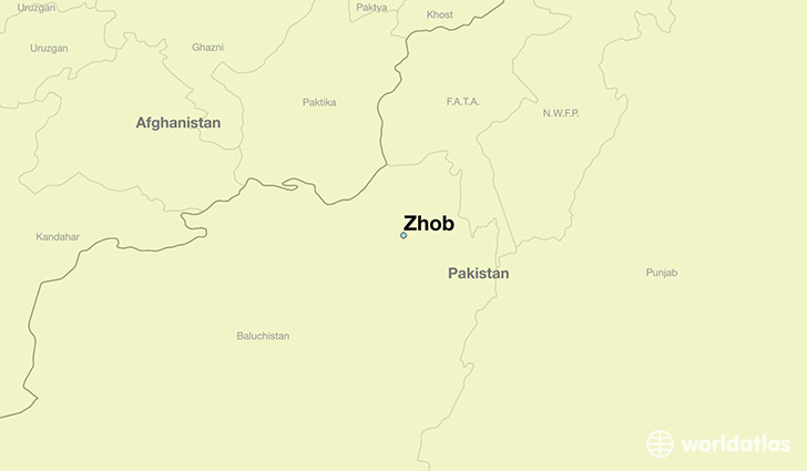 map showing the location of Zhob