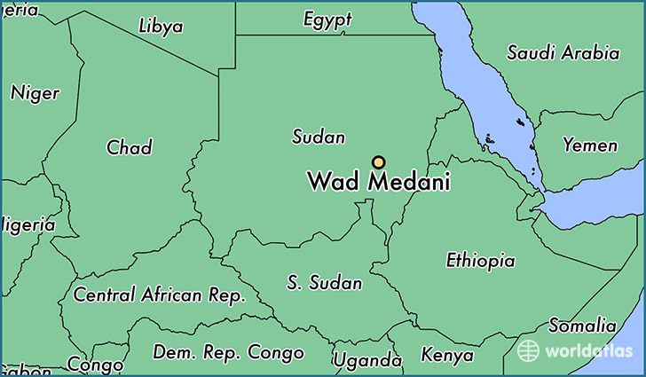 map showing the location of Wad Medani