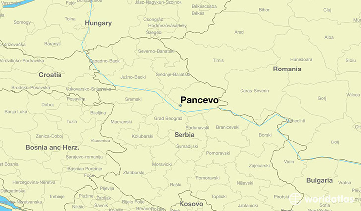 map showing the location of Pancevo