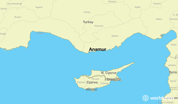 map showing the location of Anamur