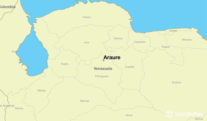 map showing the location of Araure
