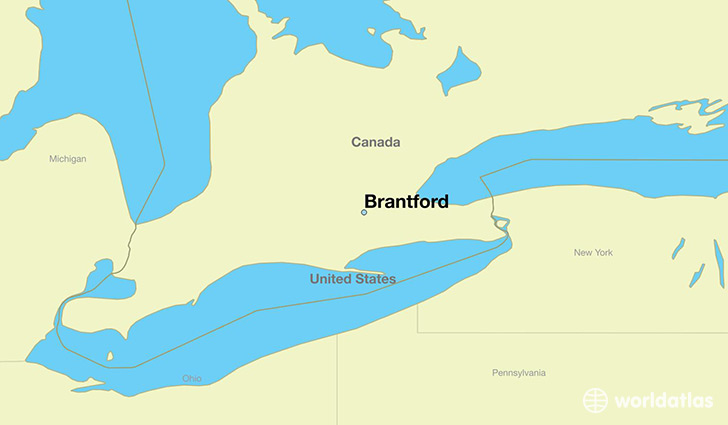 map showing the location of Brantford