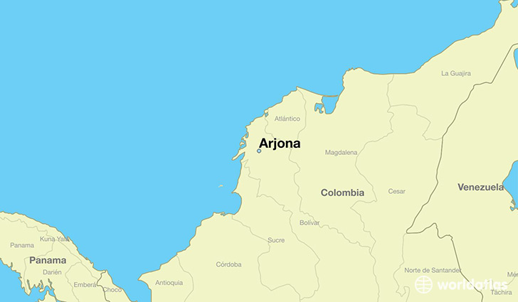 map showing the location of Arjona