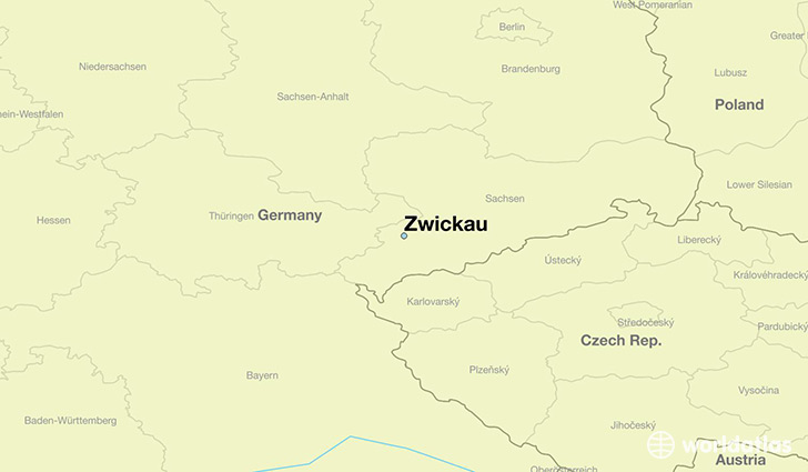 map showing the location of Zwickau