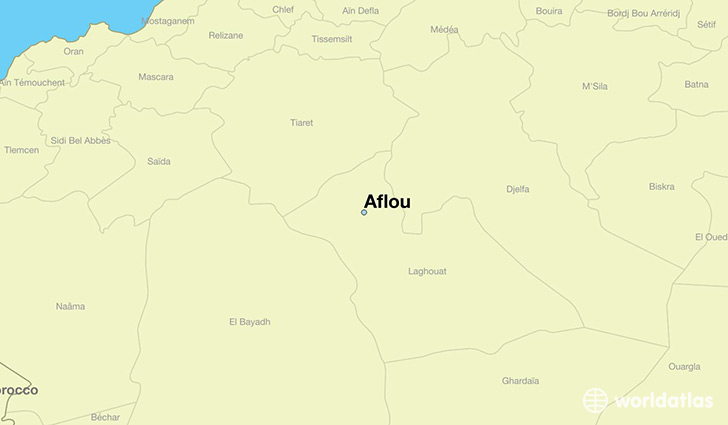 map showing the location of Aflou