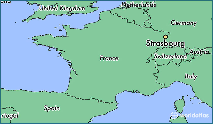 map showing the location of Strasbourg
