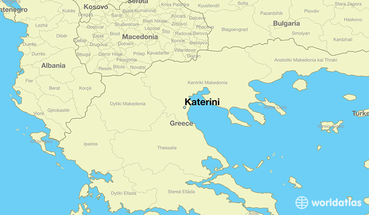 Map Showing The Location Of Katerini