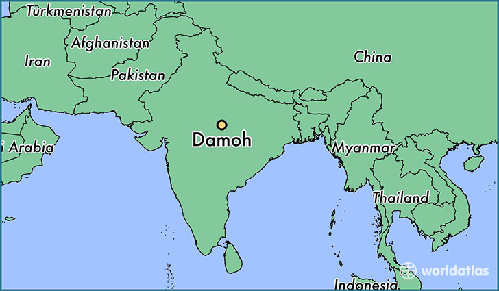 map showing the location of Damoh