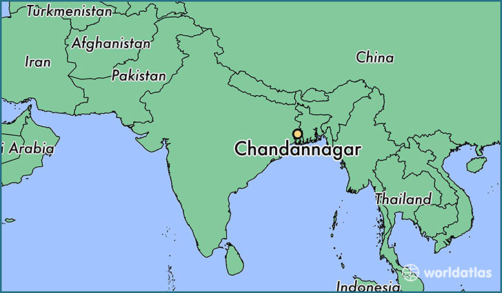 map showing the location of Chandannagar