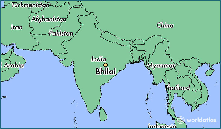 map showing the location of Bhilai