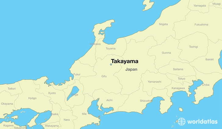 map showing the location of Takayama