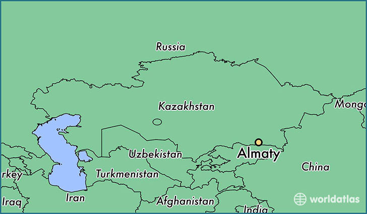 map showing the location of Almaty