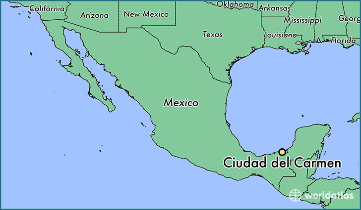 map showing the location of Ciudad del Carmen