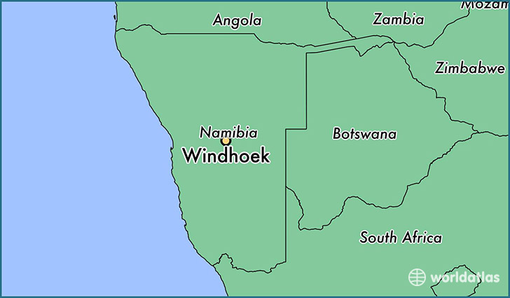 map showing the location of Windhoek