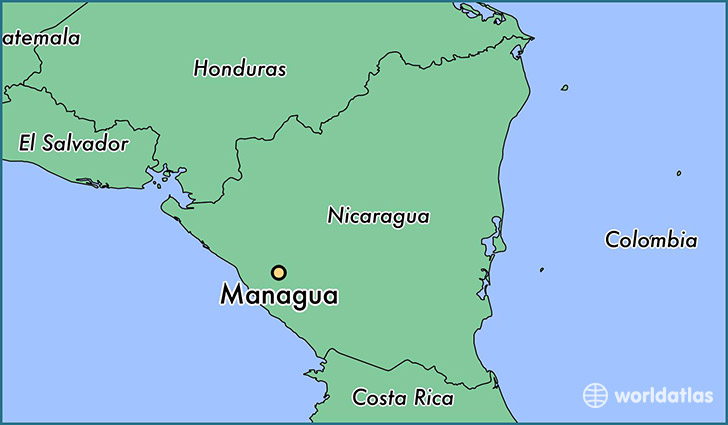 map showing the location of Managua