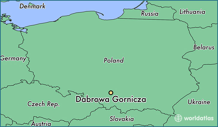 map showing the location of Dabrowa Gornicza