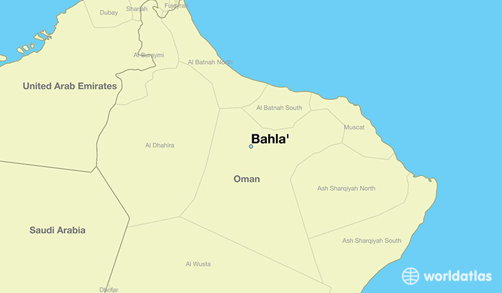 map showing the location of Bahla'
