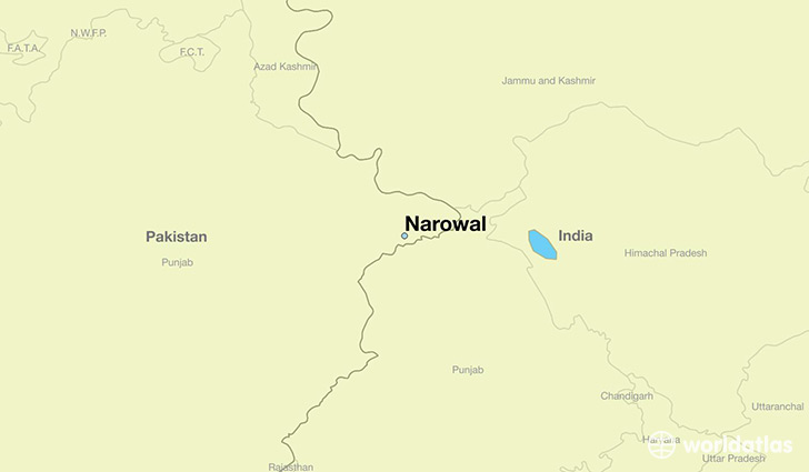 map showing the location of Narowal
