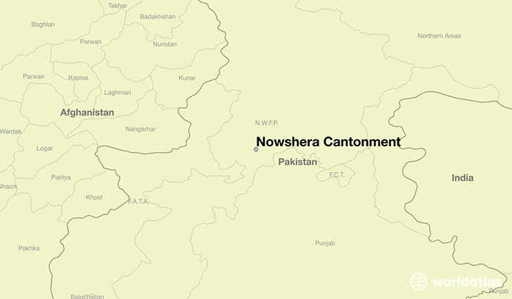 map showing the location of Nowshera Cantonment
