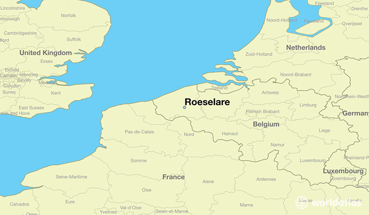 map showing the location of Roeselare