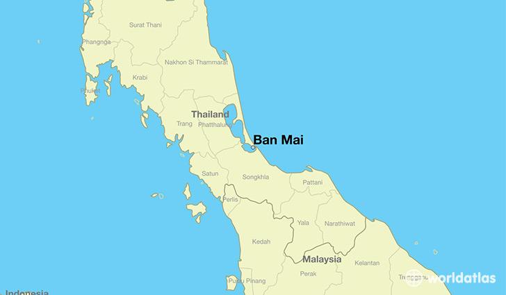Where Is Ban Mai Thailand Ban Mai Songkhla Map WorldAtlascom - Where is thailand located