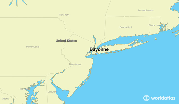 map showing the location of Bayonne