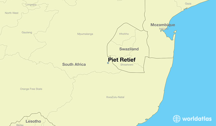 map showing the location of Piet Retief