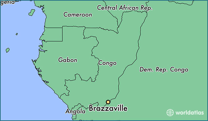 map showing the location of Brazzaville