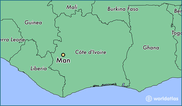 map showing the location of Man