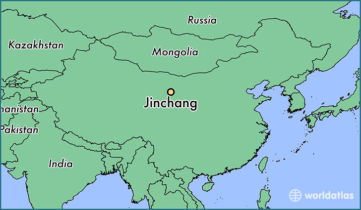 map showing the location of Jinchang