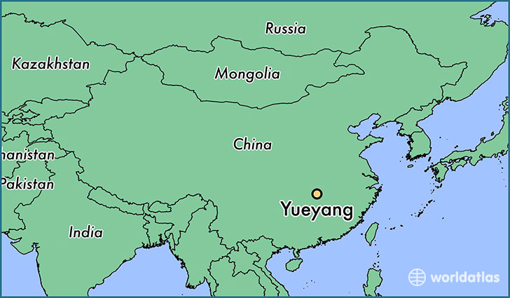 map showing the location of Yueyang