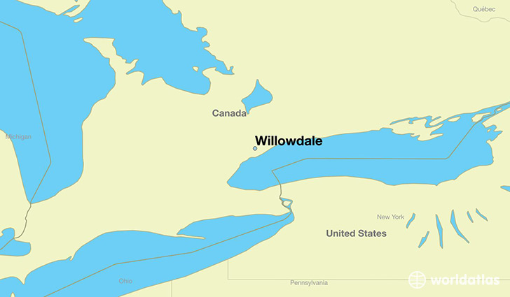 map showing the location of Willowdale
