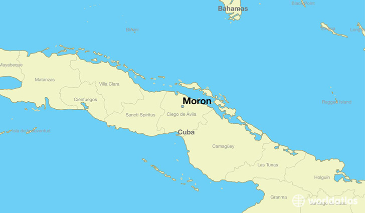 map showing the location of Moron