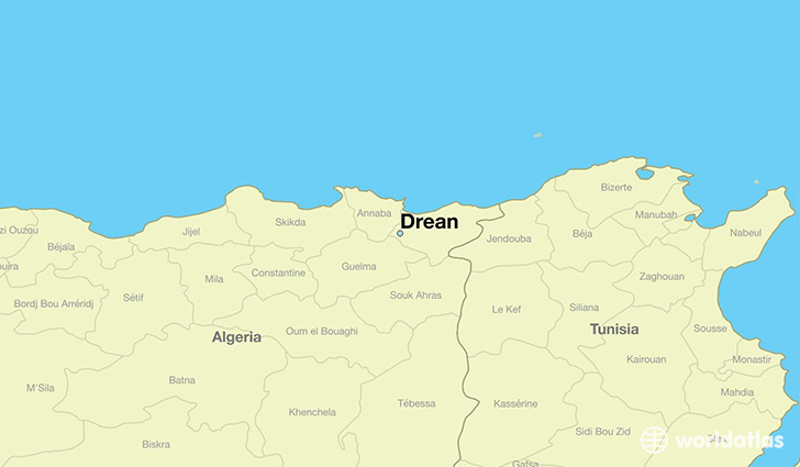 map showing the location of Drean