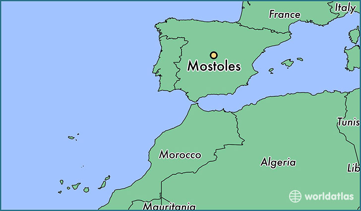 map showing the location of Mostoles