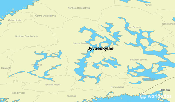 map showing the location of Jyvaeskylae
