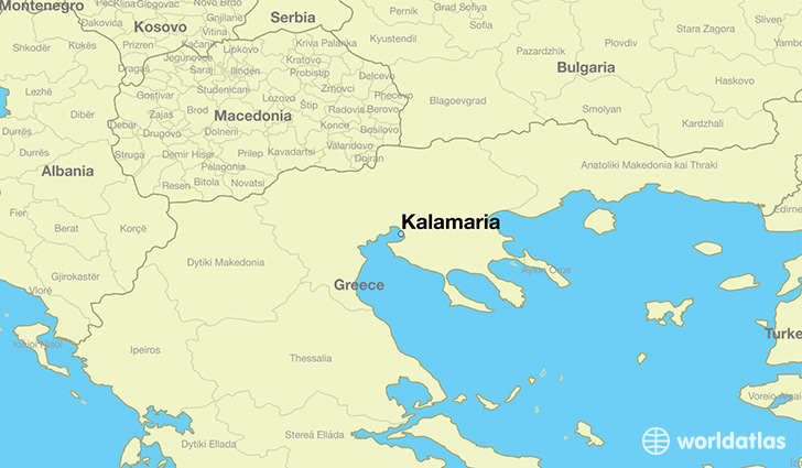 map showing the location of Kalamaria