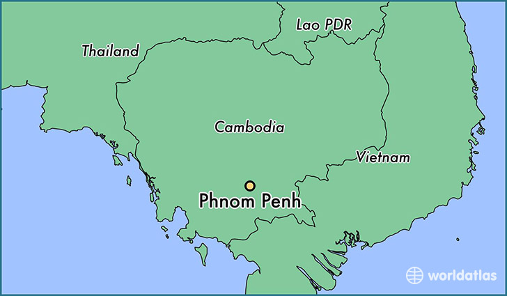 map showing the location of Phnom Penh