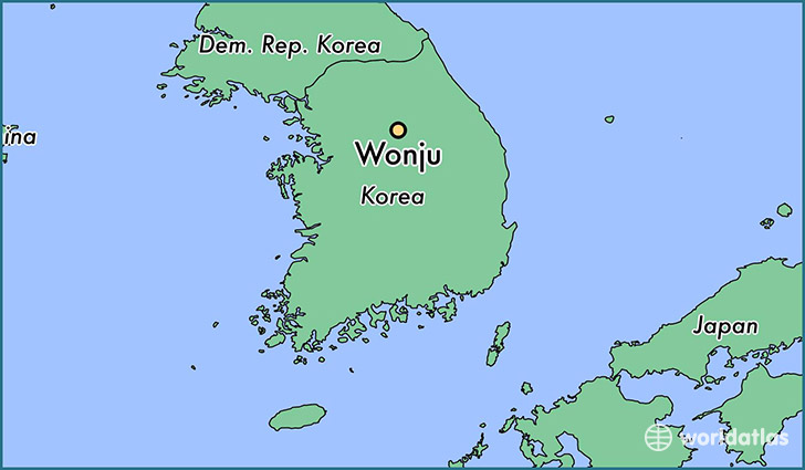 map showing the location of Wonju