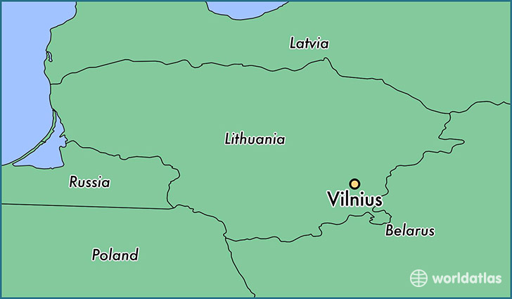 map showing the location of Vilnius
