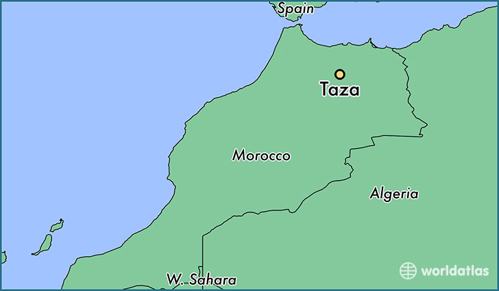 map showing the location of Taza