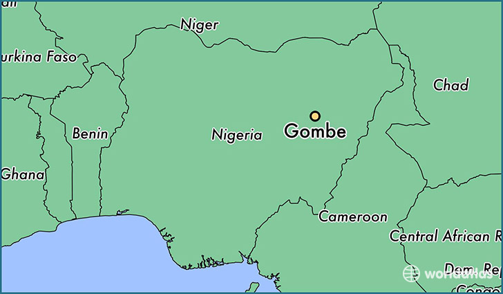 map showing the location of Gombe