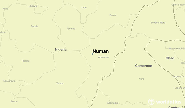 map showing the location of Numan