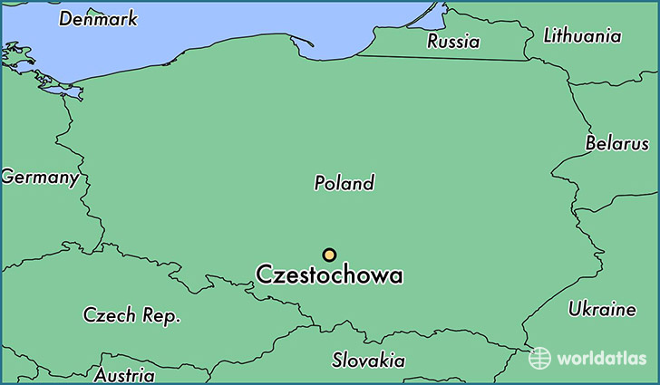 map showing the location of Czestochowa